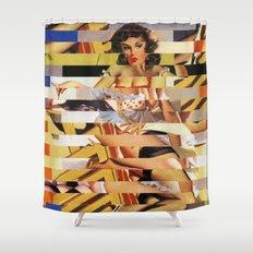 Glitch Pin-Up Redux: Vanessa  Shower Curtain