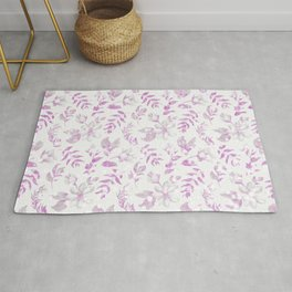 Modern ivory white pink watercolor glitter floral Rug