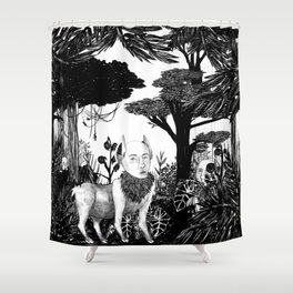 some dudes hanging out in the jungle Shower Curtain