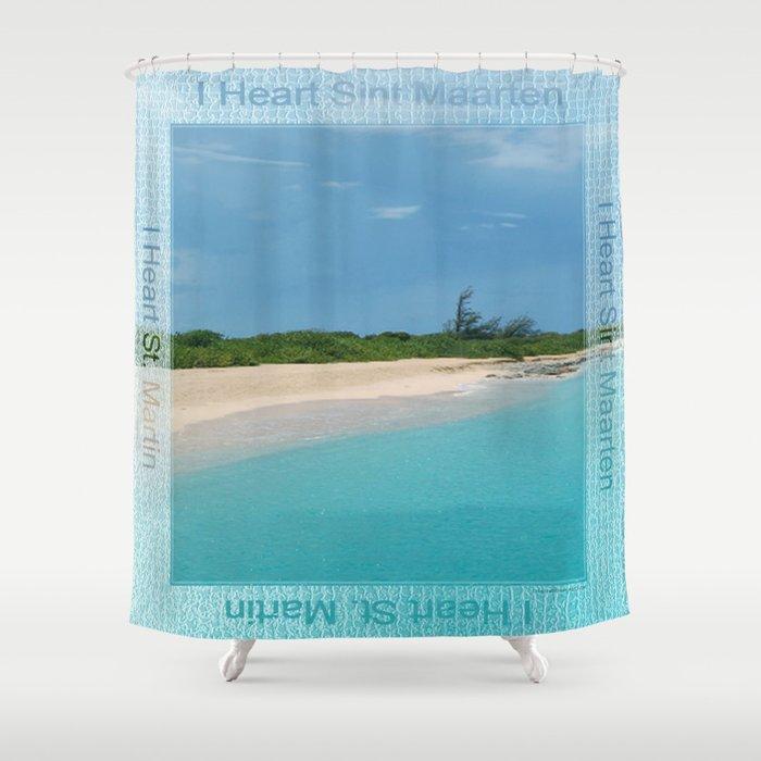 I Heart Sint Maarten - St. Martin Shower Curtain