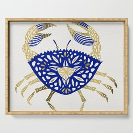 Crab – Navy & Gold Serving Tray