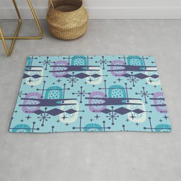 Retro Atomic Mid Century Pattern Teal Blue and Lavender 2 Rug
