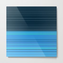 The ocean, abstract horizontal linework in blue. Metal Print