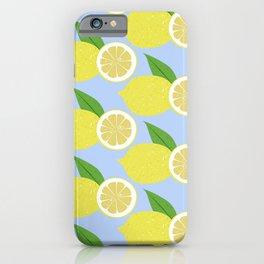 Lemon fruits on blue iPhone Case
