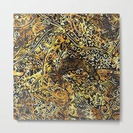 Hawaiian Gold and Yellow Ancient Pattern Metal Print