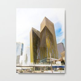 twin yellow buildings at Las Vegas, USA Metal Print