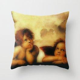 "Raffaello Sanzio da Urbino ""Sistine Madonna"", 1513-1514 - angels (1) Throw Pillow"