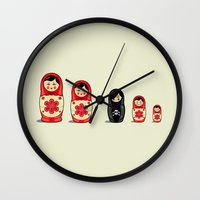 sheep Wall Clocks featuring The Black Sheep by Fabian Gonzalez