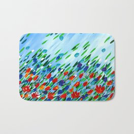 Textured flowers Bath Mat