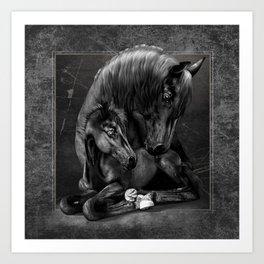 Black Popular Friesian Horse Art Print
