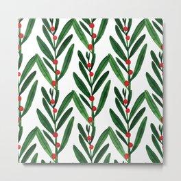 Trendy green red pink watercolor leaves berries pattern Metal Print