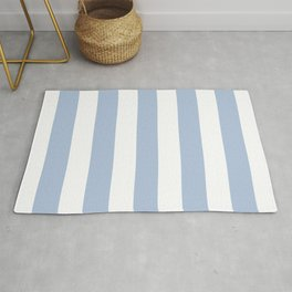 Light steel blue - solid color - white vertical lines pattern Rug