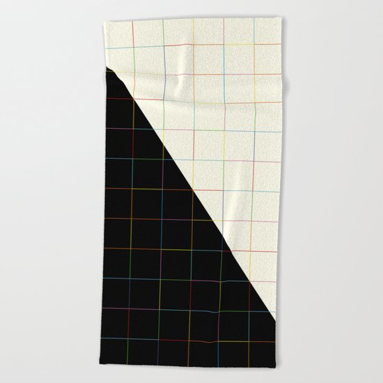 Colorful Lines (black and white version) Beach Towel