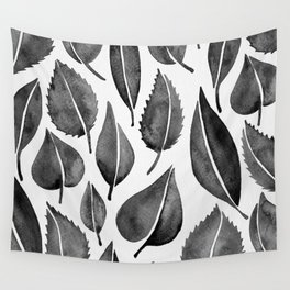 Black Leaves Wall Tapestry