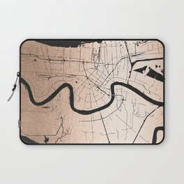 New Orleans Rose Gold and Black Map Laptop Sleeve