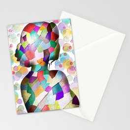 Abstract Mosaic Woman Silhouette Stationery Cards
