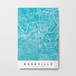 Nashville Map Tennessee | Blue & Cyan | More Colors, Review My Collections Metal Print