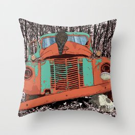 Old speed wagon with a wolf skull and a hawk. Throw Pillow