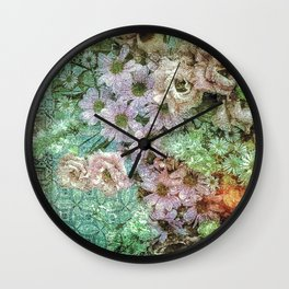 Shabby Retro Floral Wall Clock