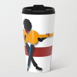 """Guitarist"" by Paulette Lust contemporary, original, colorful, whimsical, art. Travel Mug"