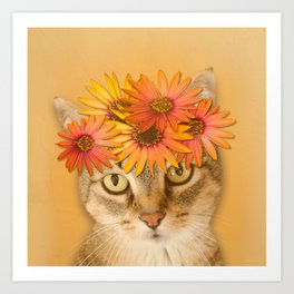 Tabby Cat with Daisy Flower Crown, Mustard Yellow Background Art Print