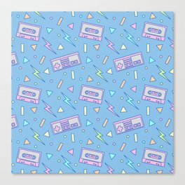 80s Video Games and Mix Tapes Canvas Print