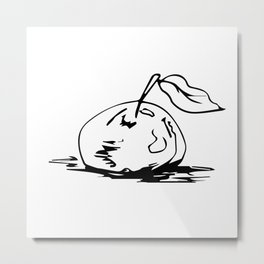 Black and white apple Metal Print