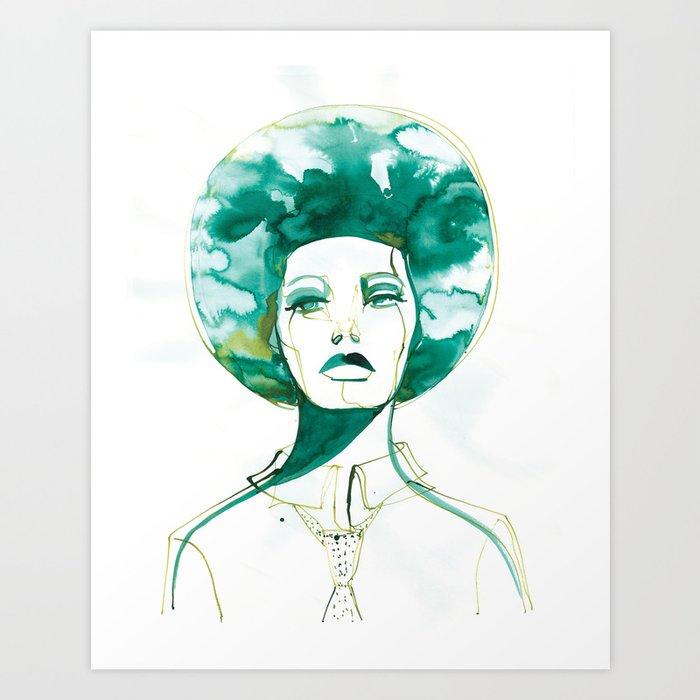 Green Afro Queen Art Print