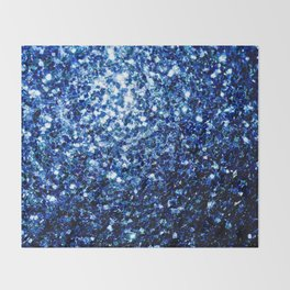 Beautiful Dark Blue glitter sparkles Throw Blanket