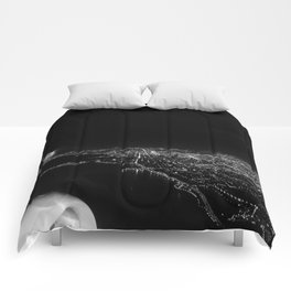 Chicago Skyline. Airplane. View From Plane. Chicago Nighttime. City Skyline. Jodilynpaintings Comforters