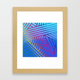 Rainbow Ombre Pattern with Blue Background Framed Art Print