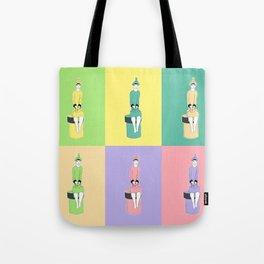 girl holding a bag . art Tote Bag