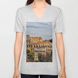 Roman Coliseum, Rome, Italy. Unisex V-Neck