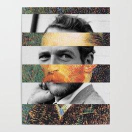 Van Gogh's Self Portrait & Paul Newman Poster