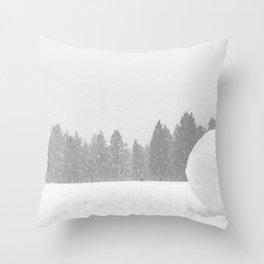 Giant Snowball // Making Snowmen Winter Landscape Photography Snowman Ball Snowy Day Throw Pillow
