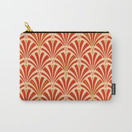 Art Deco Fan Pattern, Mandarin Orange Carry-All Pouch