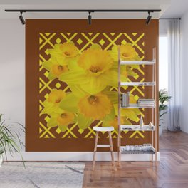 Coffee Brown Pattern of Golden Daffodils Art Wall Mural