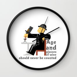 Age and glasses of Wine Wall Clock