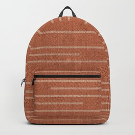 Geometric Art, Colorful Stripes Mudcloth, Terracotta Backpack
