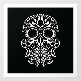 Day of the Dead Skull - Hearts Art Print