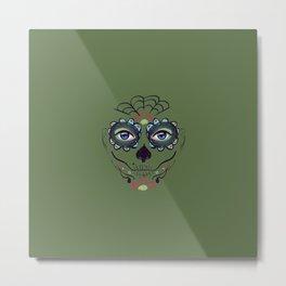 Green sugar skull make up Metal Print