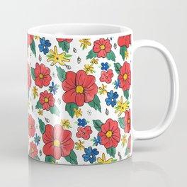 Red Vinage Flowers Coffee Mug