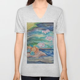 Pond With Squirtle And Goldeen Unisex V-Neck