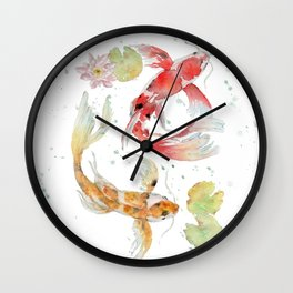 "Watercolor Painting of Picture ""Koi Pond"" Wall Clock"