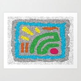 Square Stamp Multi Blue Art Print