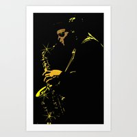 saxophone Art Prints featuring Saxophone Player by TilenHrovatic
