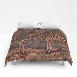 Vintage Zebra Painting (1909) Comforters