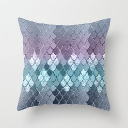 Mermaid Scales Navy Blue Teal Purple Glam #1 #shiny #decor #art #society6 Throw Pillow