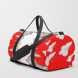 DESIGN PATTERN OF RED & WHITE BUTTERFLIES Duffle Bag