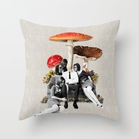eugenia loli Throw Pillows featuring Upper Class Dealer by Eugenia Loli